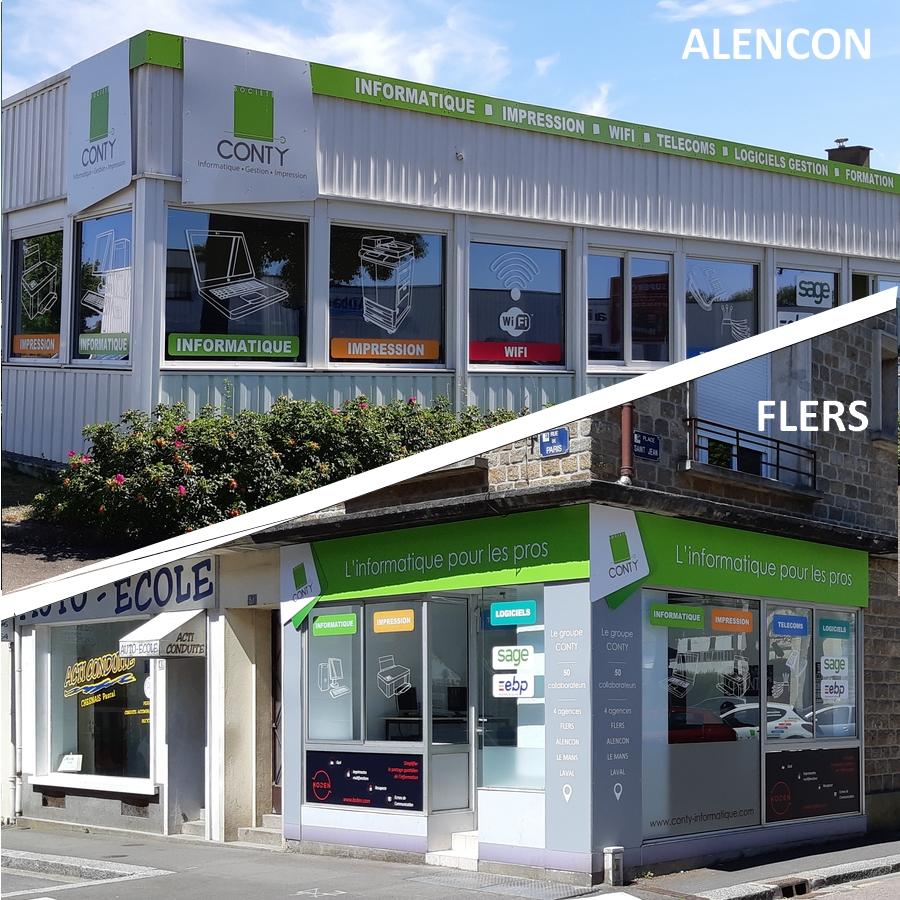 Agences Conty informatique d'Alençon et Flers